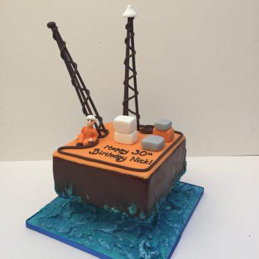 Oil Rig Birthday Cake
