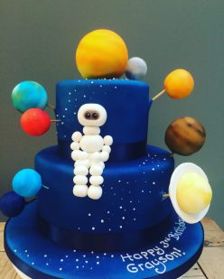 Space and Astronaut Cake with Planets