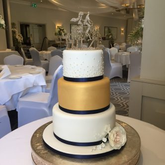 Lustre Gold and Polka Dots Wedding Cake