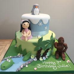 Little Girl, Penguin and Gorilla Cake