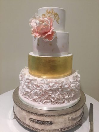 Ruffle Wedding Cake with Gold Leaf and Peonie