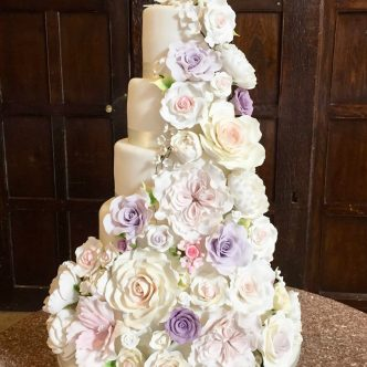 Wedding Cake Covered with Sugar Flowers