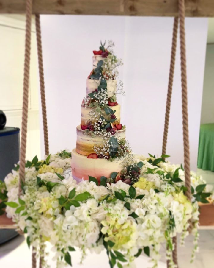 Semi Naked 5 Tier Wedding Cake