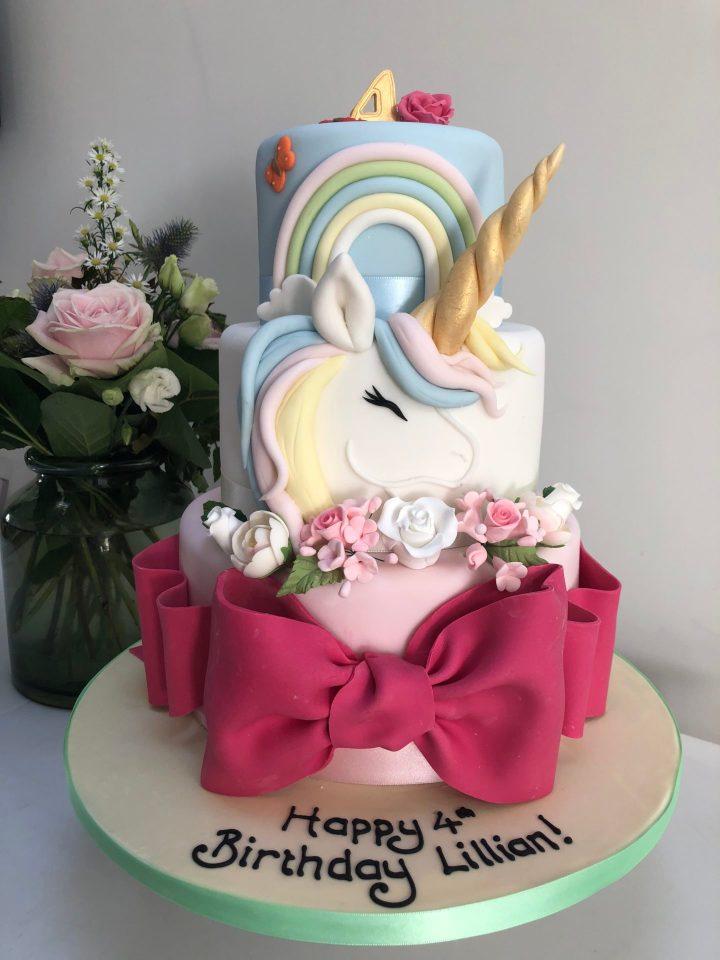 3 Tiered Unicorn Cake