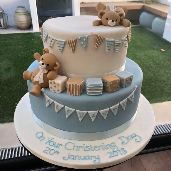 Partying Teddy Bear Christening Cake