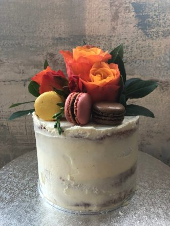 Semi Naked Cake with Fresh Flowers and Macarons