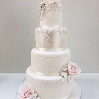Daisy Drip and Rose Wedding Cake with Lace