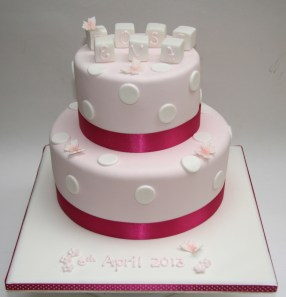 Name Block Christening Cake