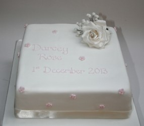 Sugar Rose Christening Cake