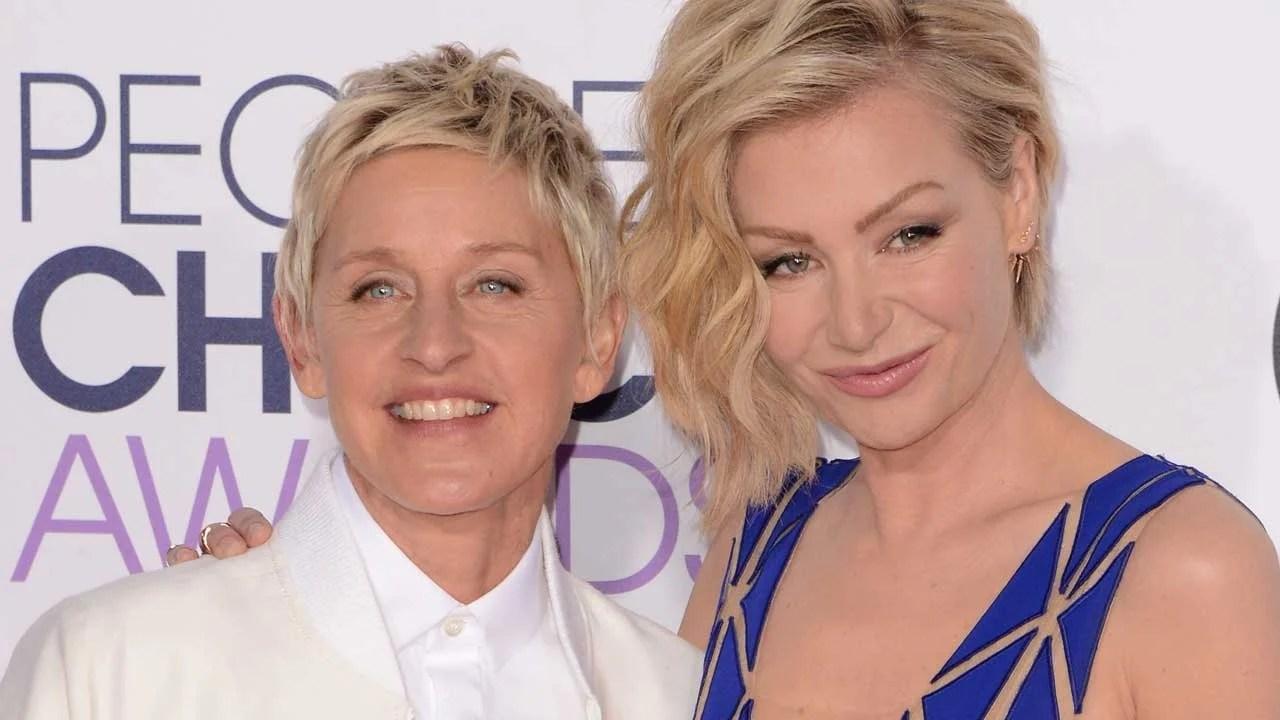 Ellen DeGeneres Shares A Kiss With Wife Portia De Rossi