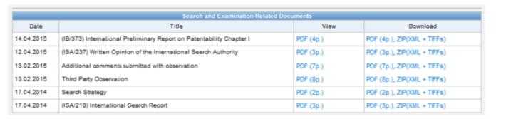 TPO受理後,可在WIPO專利檢索的服務(PATENTSCOPE®)平台查到提交的第三方意見