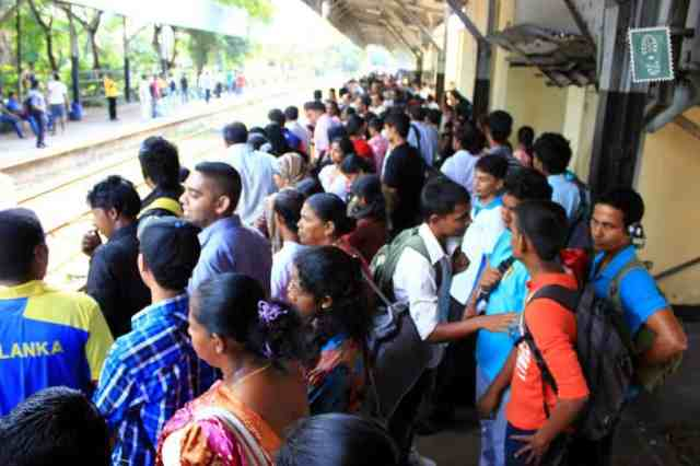 Colombo train station many people