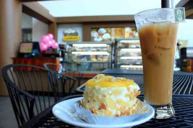 Vanilla custard and iced latte
