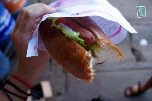 Sausage and salad sandwich