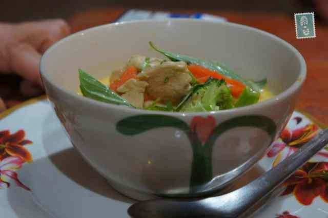 Chicken and vegetable soup, very milky