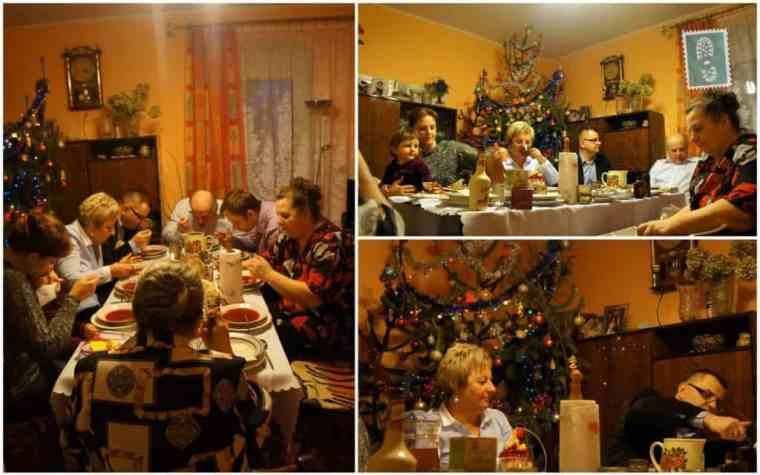 Agness's family sitting together during the Christmas dinner