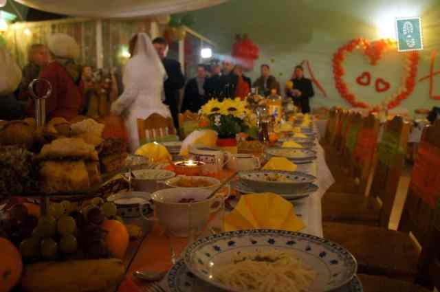 A table full of food at Polish wedding