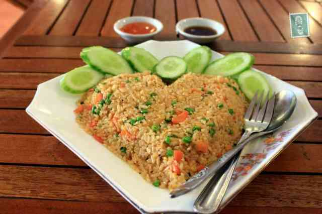 Heart-shaped fried rice with egg