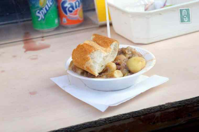 Sausage with cabbage and potatoes served with baguette (4 euros - $5 per portion)