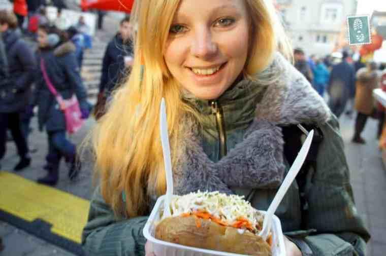 Enjoying some Belgian baked potatoes