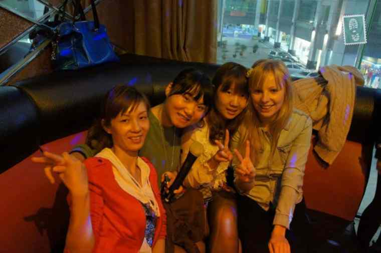 Chinese girls singing songs in KTV