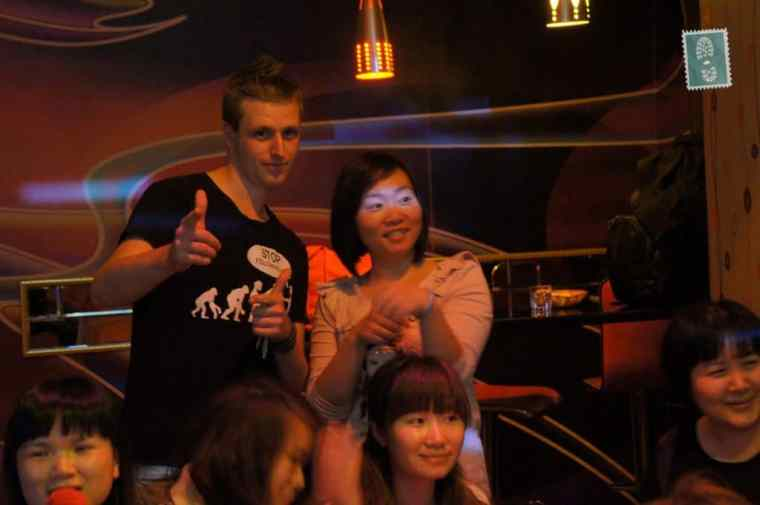 People are having fun in Chinese KTV