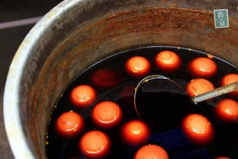 Chinese eggs dipped in a dirty water