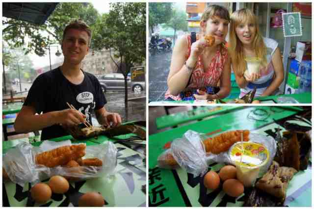 Our Chinese breakfast - boiled eggs, you tiao, soy milk and sticky rice