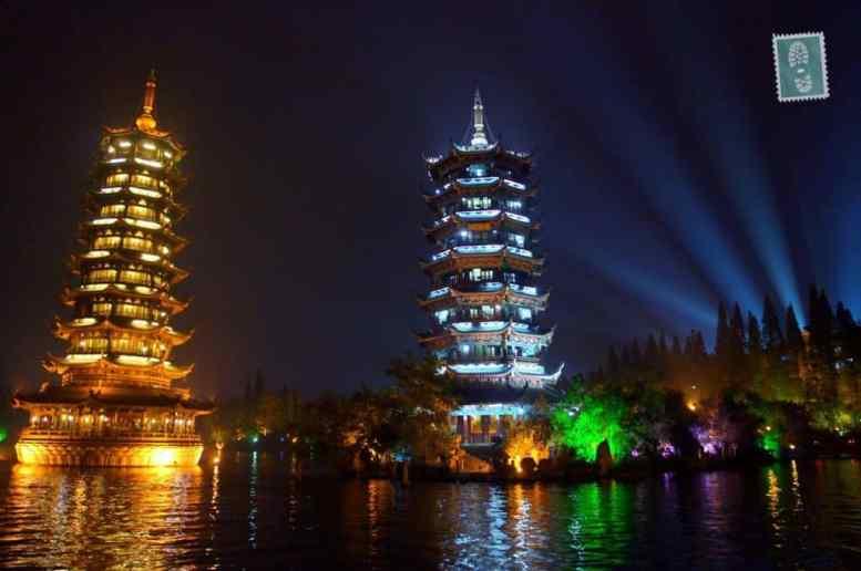 Pagodas, Four Lakes scenery at night, Guilin