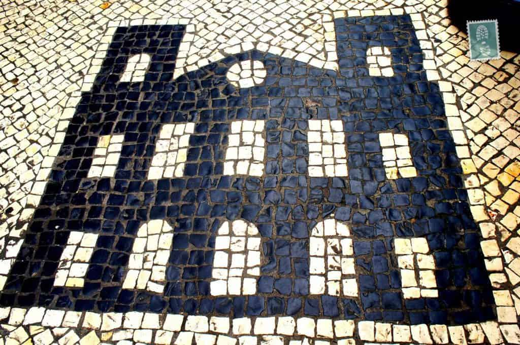 Portuguese style pavement in Macau - House