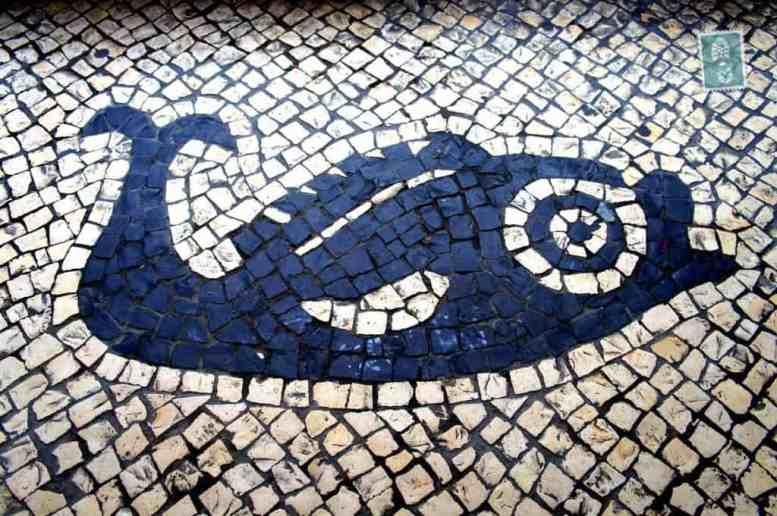 Portuguese style pavements in Macau - Fish