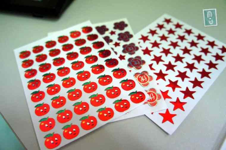 Teaching stickers apples, flowers and stars
