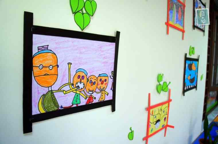 Some of the art work made by my students on the wall