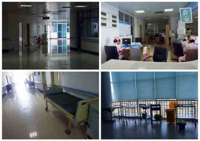 Hospital corridors and reception of Dalang Hospital