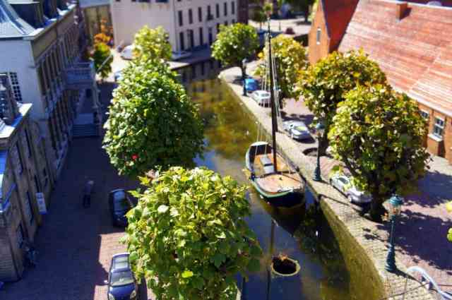 Miniature trees, boats and houses in Madurodam