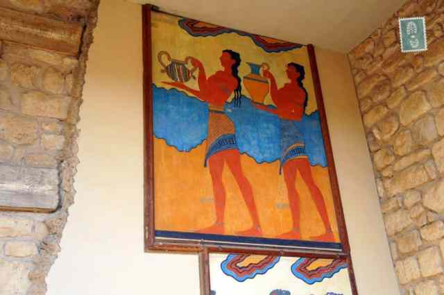 Ancient painting on the wall in the Palace of Knossos