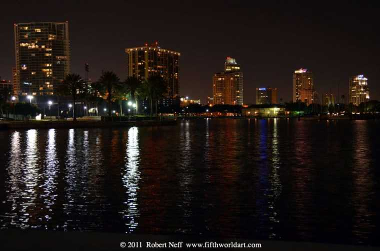 Closeup: Night view along the waterfront, St Petersburg, Florida