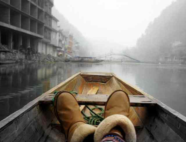 Shoes in a boat, China, Fenghuang