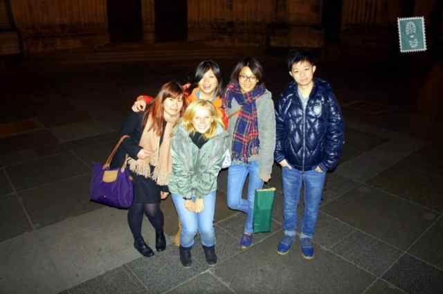 A group of Taiwanese people and a blond girl