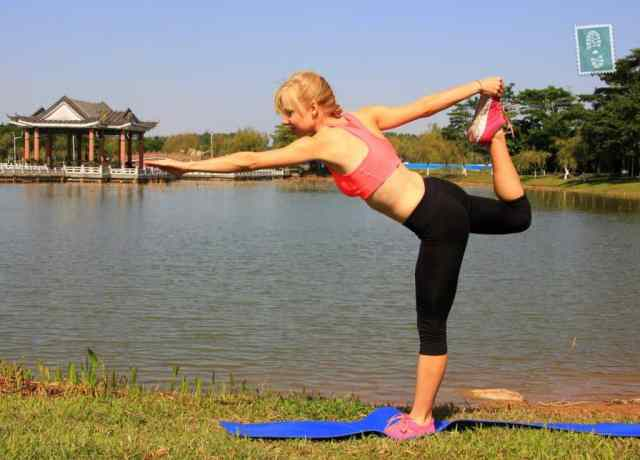 A girl is trying new yoga poses