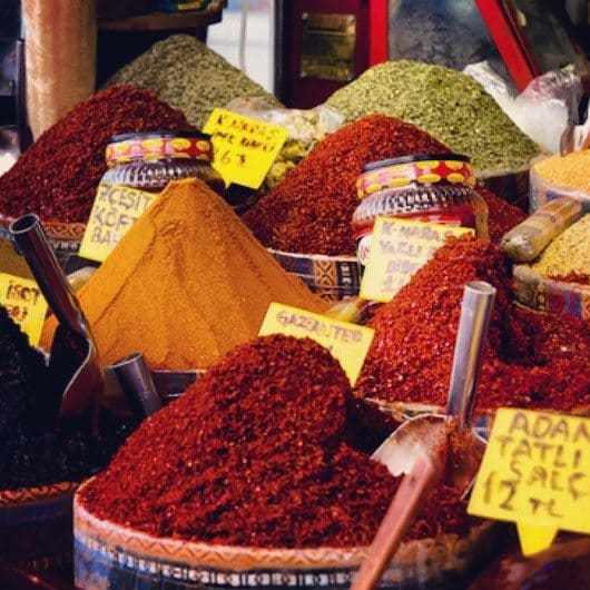 A great variety of local herbs and spices in Istanbul