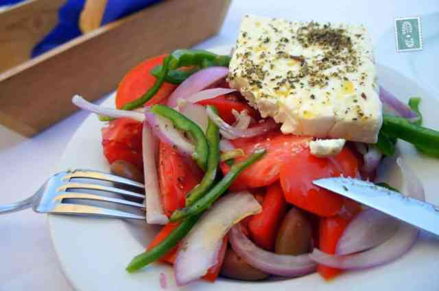 Yummy Greek salad served in one of local restaurants in Chania