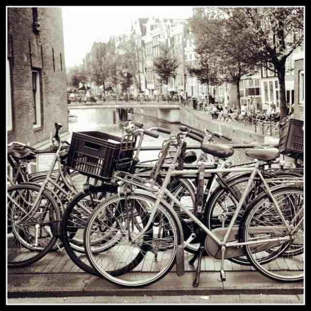 Black and white photo Amsterdam