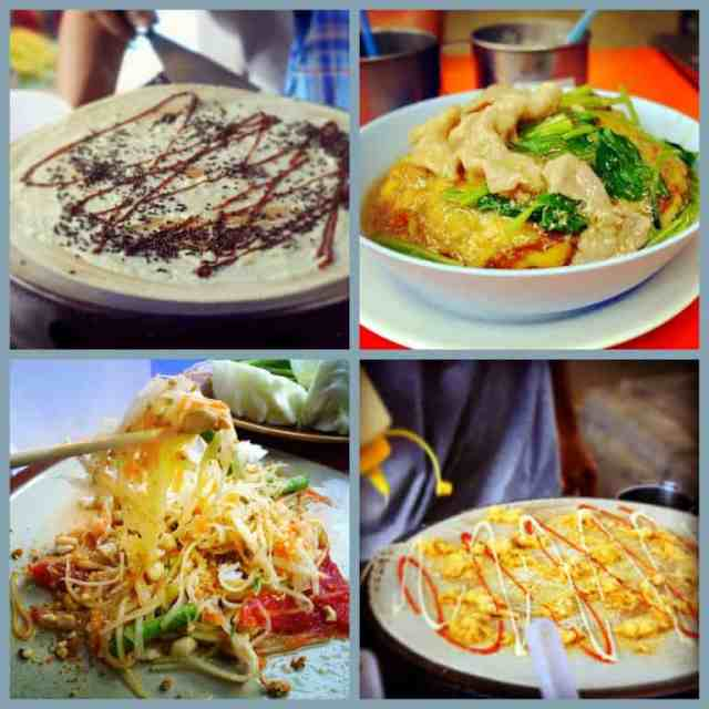 Local Thai dishes - chocolate pancakes, pork soup, papaya salad