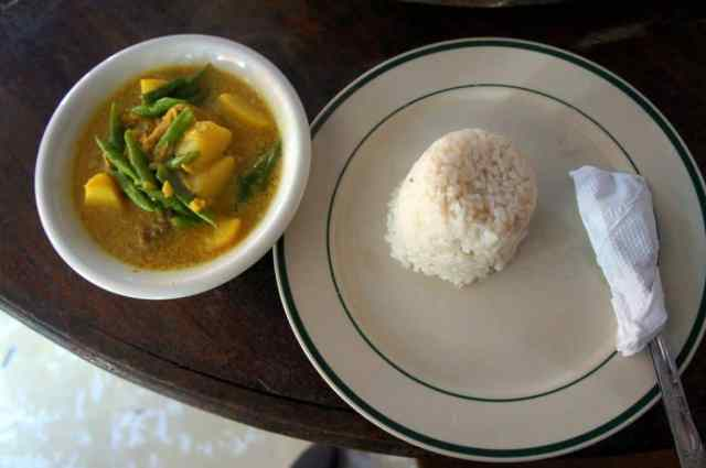 Sweet curry served with rice in Banaue
