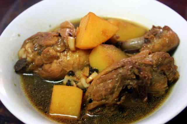 Beef soup with potatoes served in Banaue