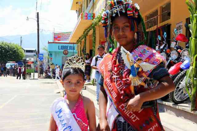 Winners of a pageant at a fiesta in Guatemala