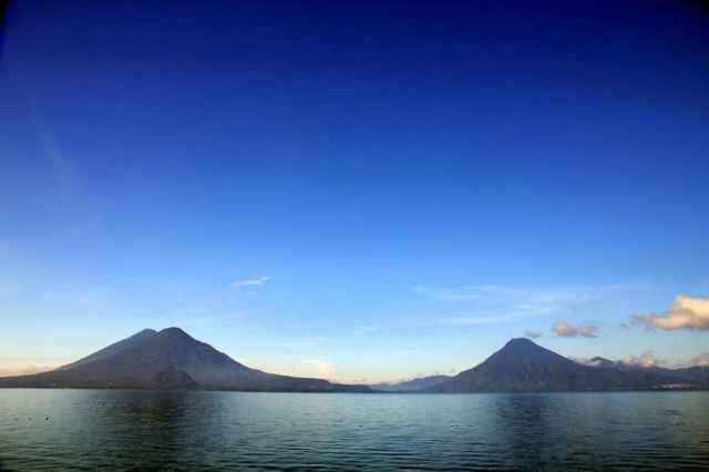 Beautiful Lake Atitlan in Guatemala is surrounded by volcanoes