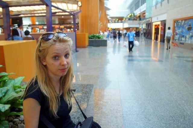 Grumpy girl as Singapore airport