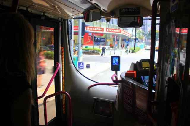 A girl on the bus in Singapore